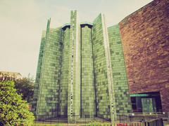 Retro look Coventry Cathedral Stock Photos