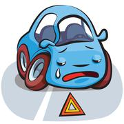 crashed car cartoon vector - stock illustration
