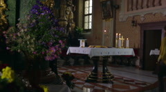 Middle-aged couple comes to the altar Stock Footage