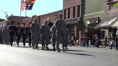 Soldiers in Fatigues Marching in Parade Stock Footage