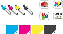 Color CMYK Icon Set - stock illustration