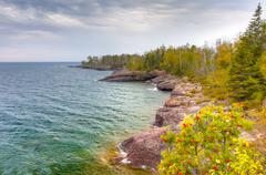 Shores of Lake Superior at Gooseberry State Park in Vertical Stock Photos