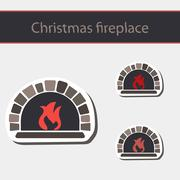 Christmas fireplace. Piirros