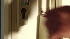 Closing Opening Trying Keys Door Close Up 7 thumbs up Stock Footage