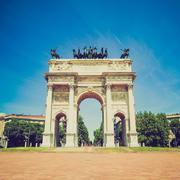 Retro look Arco della Pace, Milan Stock Photos