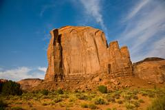 Giant sandstone formation in the monument valley in the intensive afternoon l Stock Photos