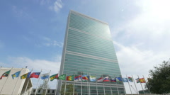 0592 Flags waving in front of United Nation Headquarter Stock Footage