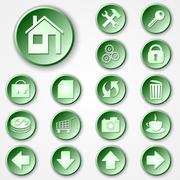 Stock Illustration of Vector abstract green round paper icon set