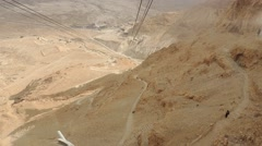 Gondola, Cable Car down from Masada Stock Footage