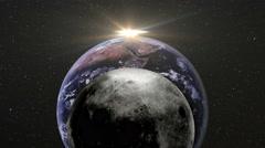 0194 Moon Earth Sun in Orbit, 4K Stock Footage