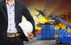 working man and container dock in land ,air cargo logistic freight industry - stock photo