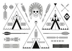 Stock Illustration of Collection of Native American tribal stylized elements for design.