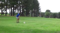 Golfer Preparing Driving Off Stock Footage