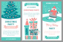 Christmas party invitations in cartoon style. - stock illustration