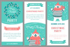Stock Illustration of Christmas party invitations in cartoon style.