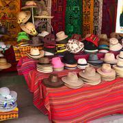 Hats at souvenir and handicraft shop in copacabana, bolivia Stock Photos