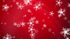 Snowflakes and Stars on a Red Background 3 Stock Footage
