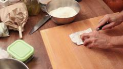 Dough making process - fresh yeast Stock Footage
