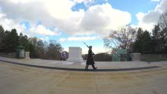 4K Arlington Cemetery guard pacing at tomb of unknown soldier Stock Footage