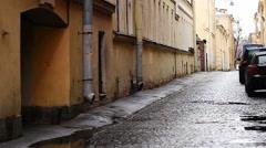 Narrow street, St. Petersburg, Russia Stock Footage
