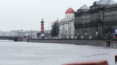 Stock Video Footage of Rostral Columns in Autumn, St Petersburg, Russia