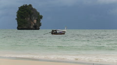 Boat float in the azure water Stock Footage