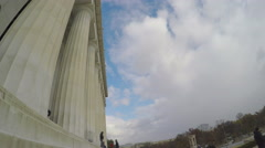 4K side view of columns of Lincoln Memorial in Washington DC Stock Footage