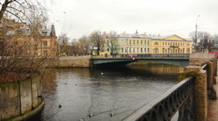 Old bridge on the river Moika, St. Petersburg, Russia Stock Footage