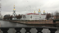 St. Nicholas Naval Cathedral and A flock of pigeons Stock Footage