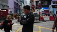 Stock Video Footage of Soho Street view around Central Mid Levels escalator in Hong Kong