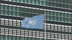 0593 Flag of the united Nation waving in a strog wind Stock Footage