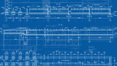 29.97fps-1080p-Construction Drawings-Top-Blue Stock Footage