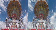 Stock Video Footage of 3d carnival swing ride starting