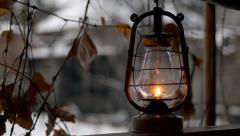 Put old kerosene lamp, outdoor Stock Footage