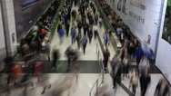 Stock Video Footage of Time lapse of crowds of people walking in Central MTR subway station
