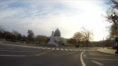4K driving by US Capital Building that is being refurbished Stock Footage