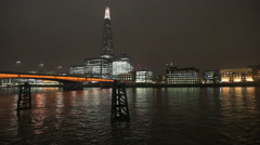 London - Skyline with The Shard and river Thames at night Stock Footage
