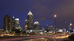 4K Time lapse Atlanta skyline at twilight - stock footage
