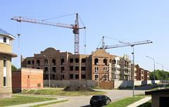 Construction of the townhouse in Omsk. - stock photo
