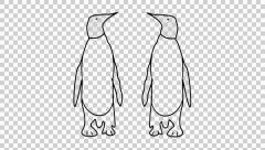 Penguin animation with transparent background - stock footage