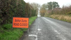 Road closed sign in Irish Stock Footage