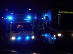 night ambulance - stock photo