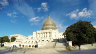 Stock Video Footage of 4K real time of US Capital Building with scaffolding around it