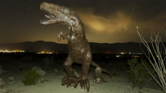 4K Time lapse zoom out of dinosaur with stars Stock Footage