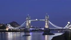 4K Time lapse medium close up Tower Bridge London twilight Stock Footage