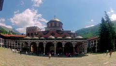 Rila, bulgaria  tourists in church in rila monastery Stock Footage