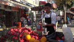 Istanbul Turkey city street vender juice make 4K 080 Stock Footage