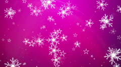 Snowflakes and Stars on a Purple  Background 3 Stock Footage