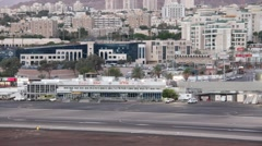 Airport Eilat at the morning. Israel Stock Footage