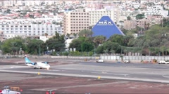 Taxiing of aircraft in Eilat airport at the early morning Stock Footage